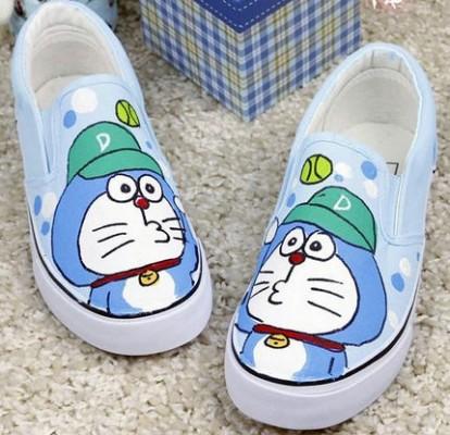 Anime Canvas Doraemon Light Blue Hand Painted Canvas Shoes-4
