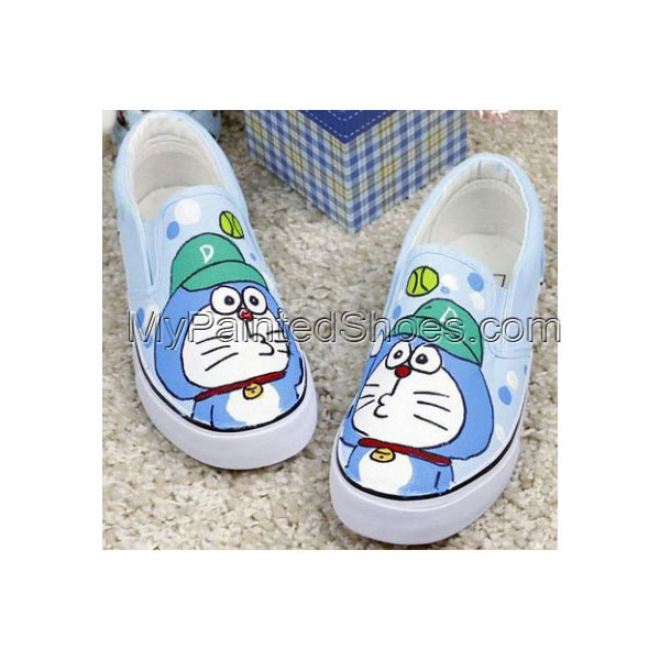Anime Canvas Doraemon Light Blue Hand Painted Canvas Shoes
