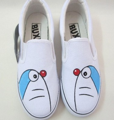 Low Doraemon White Hand Painted Canvas Shoes-4