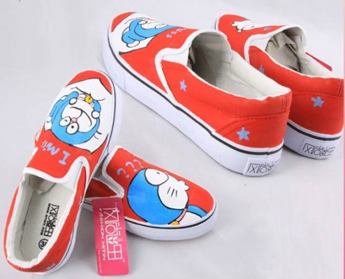 Painting Shoes Doraemon Orange Hand Painted Canvas Shoes-1