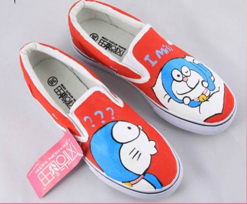 Painting Shoes Doraemon Orange Hand Painted Canvas Shoes-2