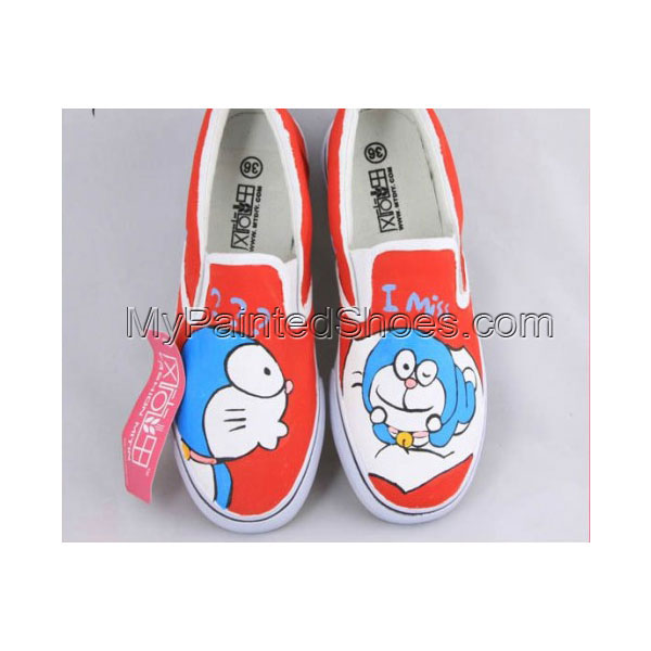 Painting Shoes Doraemon Orange Hand Painted Canvas Shoes
