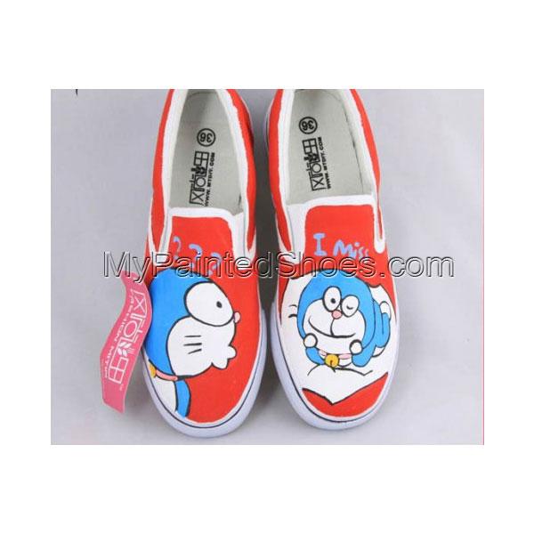 Painting Shoes Doraemon Orange Hand Painted Canvas Shoes