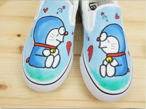 Low Doraemon Sky Blue Hand Painted Canvas Shoes-1