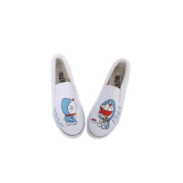 Doraemon White 2 Hand Painted Canvas Shoes