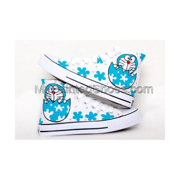 Anime Shoes Doraemon White Blue Hand Painted Canvas Shoes