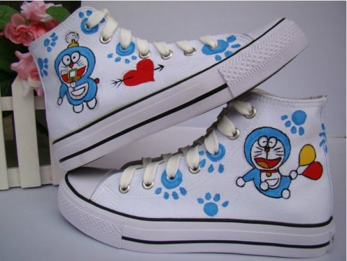 Anime Doraemon White Blue 2 Hand Painted Canvas Sneaks Shoes-1