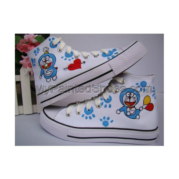 Anime Doraemon White Blue 2 Hand Painted Canvas Sneaks Shoes