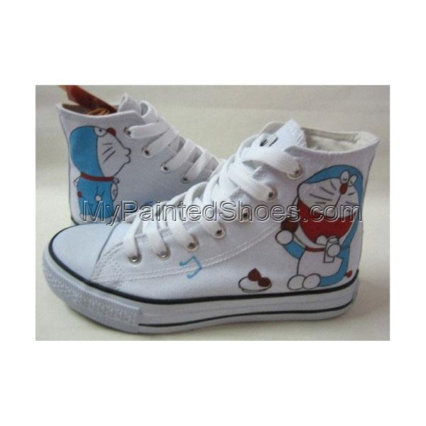 Anime Doraemon White Hand Painted Canvas Women/Men Sneaker