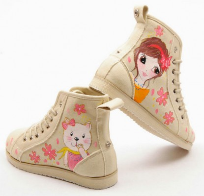 High Top Girl and Cats Hand Painted Women Sneakers-1