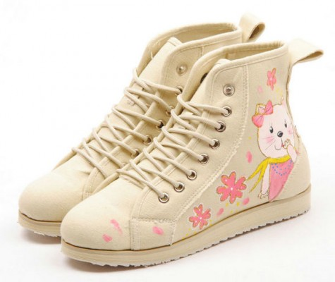 High Top Girl and Cats Hand Painted Women Sneakers-3