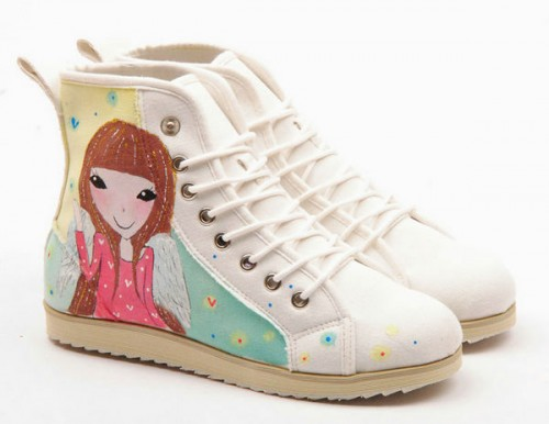 High Top Angel and Rabbit Hand Painted  Women Canvas-1
