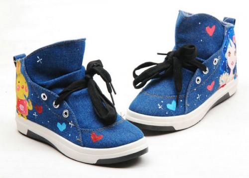 Blue Hair Modern Girl Hand Painted Canvas Women Sneaker-2