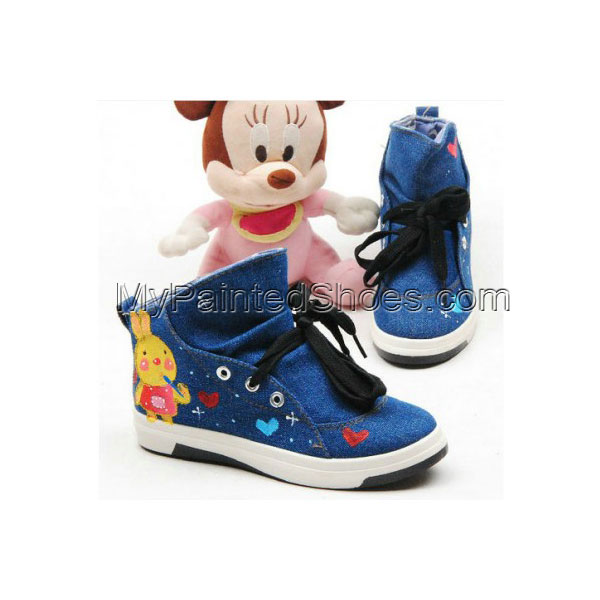 Blue Hair Modern Girl Hand Painted Canvas Women Sneaker