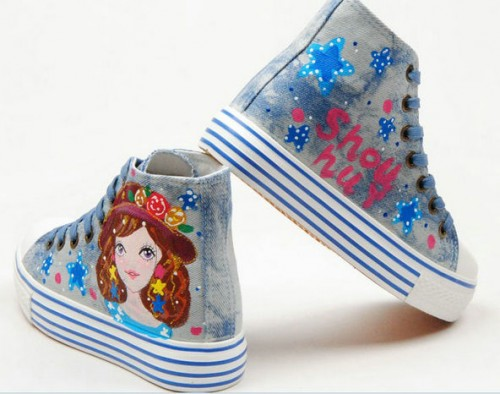 Fashion Girl and Star Hand Painted Canvas Women Sneaker-3