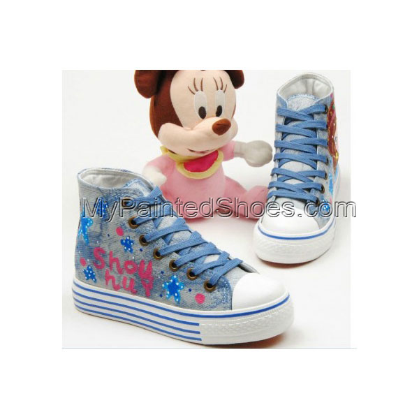 Fashion Girl and Star Hand Painted Canvas Women Sneaker
