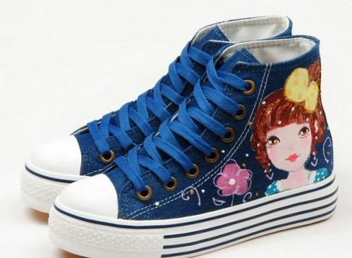 High Top Fashion Girl and Flowers Hand Painted Women Anime Shoes-3