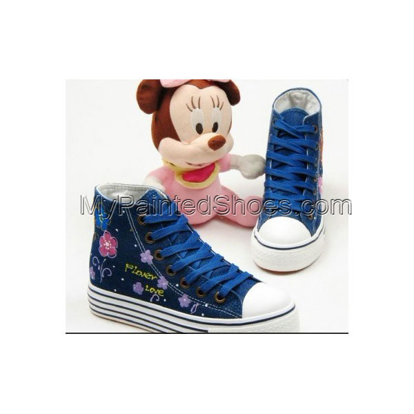 High Top Fashion Girl and Flowers Hand Painted Women Anime Shoes
