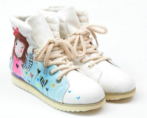 High Top Hand You and Me White Painted Canvas Women Shoes-1