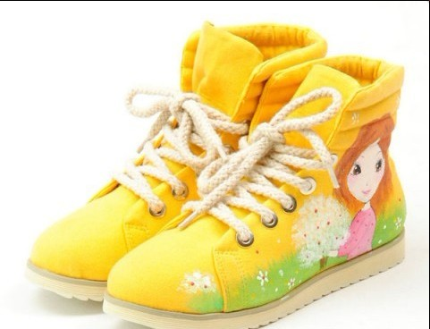 High Top Hand Drawing Girl Yellow Painted Canvas Women Shoes-3