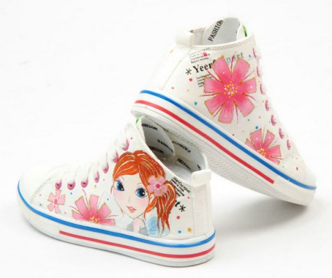 Beautiful Cartoon Girl White Hand Painted Canvas Shoes Anime Sho-2