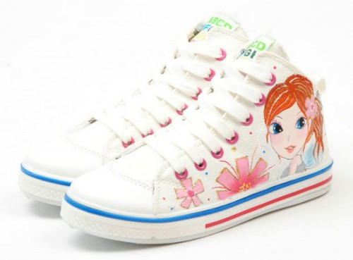 Beautiful Cartoon Girl White Hand Painted Canvas Shoes Anime Sho-3