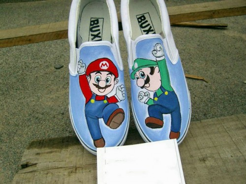 Super Mario Light Blue Hand Painted Canvas Women/Men Shoes-1