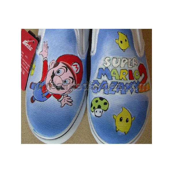 Low Painted Shoes Super Mario Blue Hand Painted Canvas Shoes