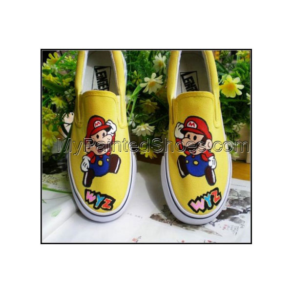 Low Super Mario Yellow Hand Painted Canvas Women/Men Shoes