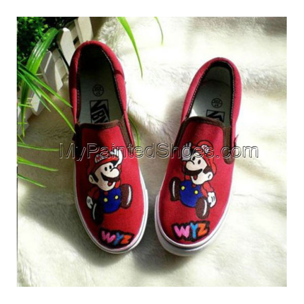 Low Super Mario Red Hand Painted Canvas Shoes