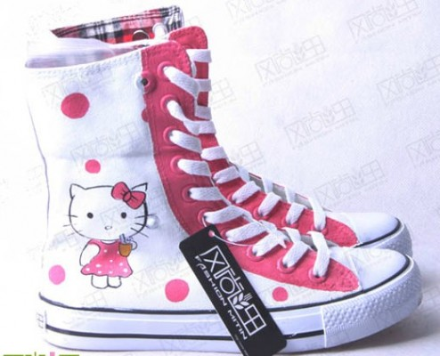 Painted Shoes Hello Kitty White Pink Hand Painted Canvas Women S-2
