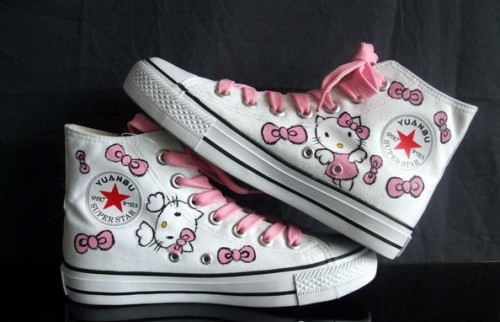 Anime Shoes Hello Kitty White Pink 2 Hand Painted Canvas Shoes-2