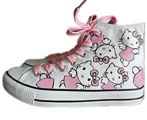 Anime Shoes Hello Kitty White Pink 2 Hand Painted Canvas Shoes-4