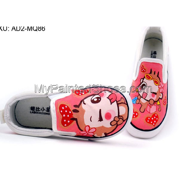 Anime YoCi Monkeys Hand Painted Canvas Shoes