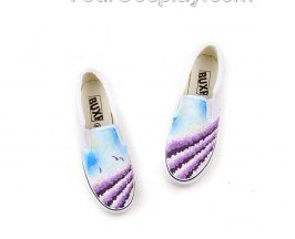 Provence Lavender Themed Slip-on Hand Painted Canvas Shoes-2