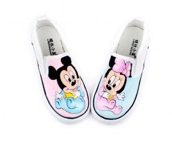 Mickey Mouse Themed Slip-on Family Hand Painted Canvas Shoes-1