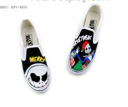 Punk Rock Style Hand Painted Slip-on Canvas Shoes-1