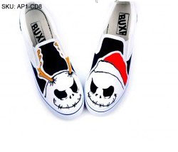 Punk Rock Style Hand Painted Slip-on Canvas Shoes-3