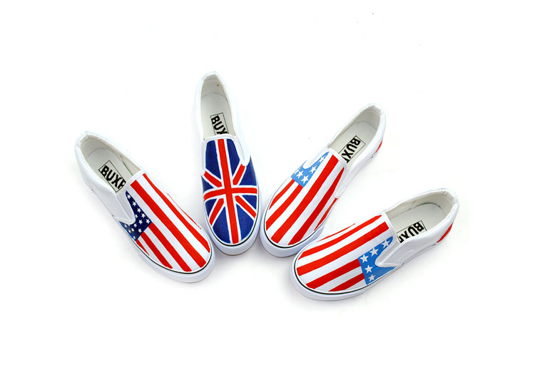 Stylish Union Jack Stars and Stripes Hand Painted Painted Shoes-1