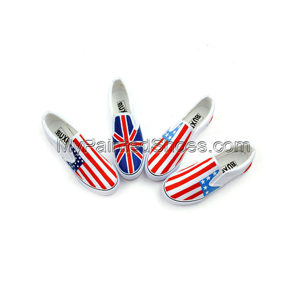 Stylish Union Jack Stars and Stripes Hand Painted Painted Shoes