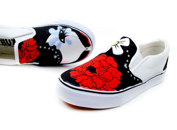Dummy Doll Cartoon Girls Hand Painted Slip on Canvas Shoes-1