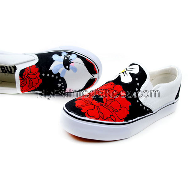 Dummy Doll Cartoon Girls Hand Painted Slip on Canvas Shoes