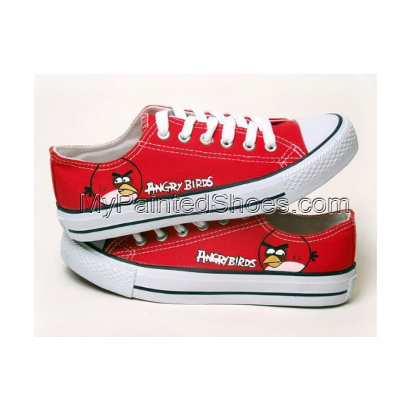 Low Painted Shoes Angry Birds Red Hand Painted Canvas Shoes