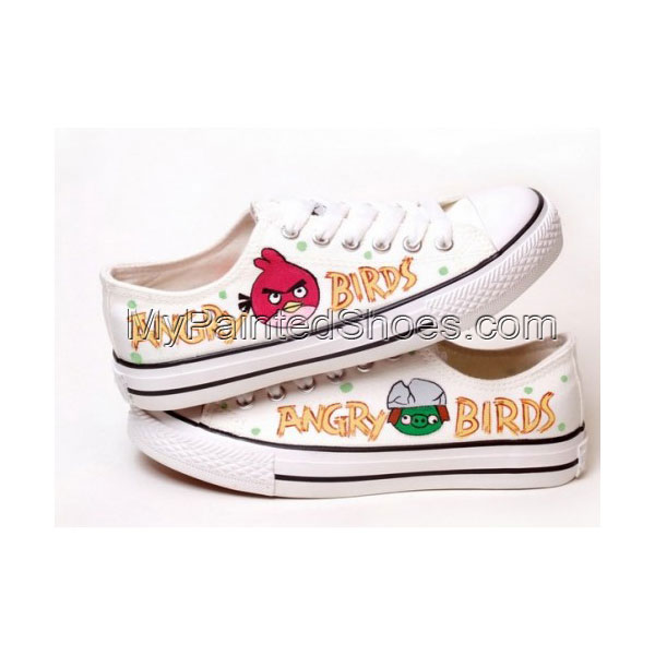 Angry Birds White Women/Men/Kids Hand Painted Canvas Shoes