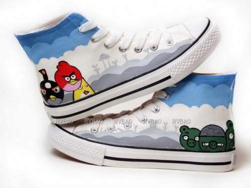 Angry Birds White Blue Grey Hand Painted Canvas Shoes-1