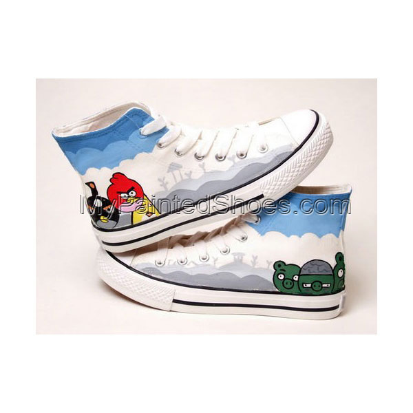 Angry Birds White Blue Grey Hand Painted Canvas Shoes