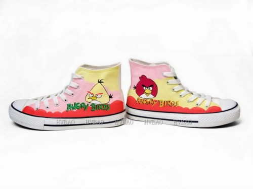 Angry Birds Yellow Pink Hand Painted Canvas Shoes Anime Shoes-2