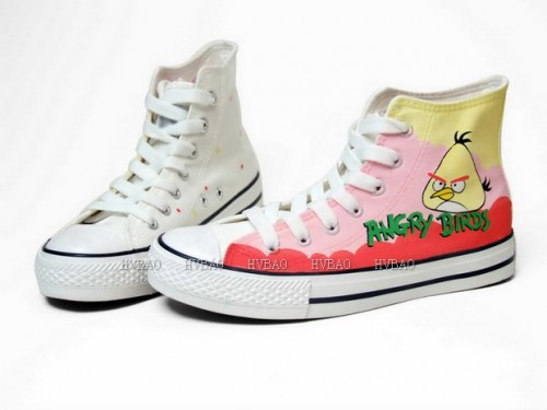 Angry Birds Yellow Pink Hand Painted Canvas Shoes Anime Shoes-3