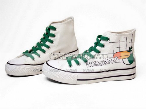 Angry Birds White Green Hand Painted Canvas Shoes-1