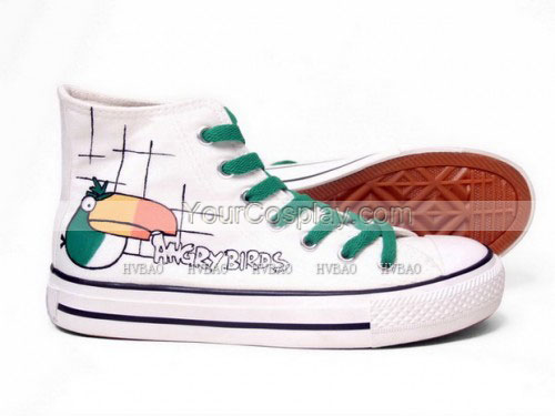 Angry Birds White Green Hand Painted Canvas Shoes-3